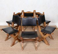 6 Oak Gothic Dining Chairs Carved (11 of 14)