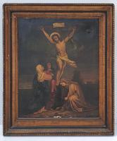 19th Century Oil on Canvas of Jesus on Cross (2 of 5)