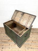 Large Distressed Painted Metal Bound Trunk (9 of 10)