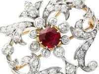 2.05ct Ruby & 1.70ct Diamond & 12ct Yellow Gold Brooch - Antique c.1910 (9 of 9)