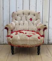 Antique French Button Back Chair For Re-upholstery (2 of 8)