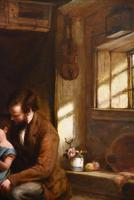 """Oil Painting Frederick Johnston """"The Reading Lesson"""" (2 of 5)"""