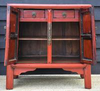 Excellent Pair of Chinese Red Lacquered Cabinets / Cupboards c.1900 (5 of 14)
