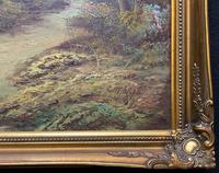 Large Fabulous 20th Century Vintage British Autumn Country Landscape Oil Painting (10 of 12)