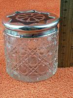 Antique Sterling Silver Hallmarked Cut Glass Faux Tortoise Shell Jar C1897 London (3 of 8)