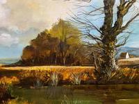 Large Magnificent Extensive Vintage Autumn Country Landscape Oil Painting (9 of 13)