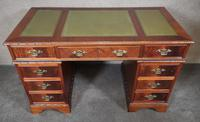 Reproduction Carved Mahogany Kneehole Pedestal Desk (5 of 11)