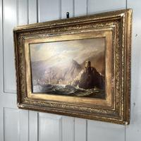 Antique Victorian Large Marine Seascape Oil Painting of Sailing Boats (8 of 10)