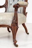 Pretty Pair of Victorian His and Her Walnut Parlour Chairs (3 of 9)