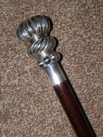 Vintage 925 Silver Segment Patterned Topped Walking Stick / Cane (6 of 11)