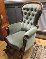 Victorian Walnut Armchair Recently Upholstered 1880 (5 of 7)