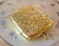 Antique Pocket Watch Chain Vesta Case Fob 1890s Victorian Large Chunky Brass Fob (3 of 9)