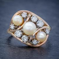 Antique Edwardian Pearl Diamond Cluster Ring 18ct Gold c.1910 (5 of 6)