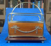 Edwardian Brass & Mahogany Magazine Rack (9 of 12)