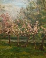 Superb Early 1900s Spring Blossom Riverscape Impressionist Oil Painting (3 of 13)