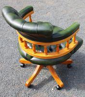 1960s Walnut Swivel Office Chair in Green Leather (3 of 3)