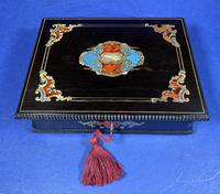 19th century French Ebony, Brass Lacquer & Red Tortoiseshell Jewellery Box (15 of 17)