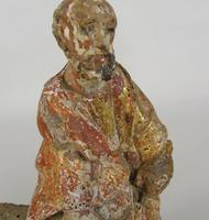 Rare Antique Carved Gilt & Polychrome Figure Saint Paul 17th Century (5 of 10)