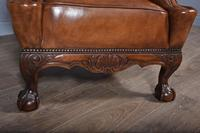 Large Antique Deep Buttoned Leather Wing Chair (5 of 5)