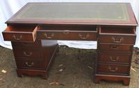 1960's Large Mahogany Pedestal Desk with Green Leather Inset + Key (4 of 4)