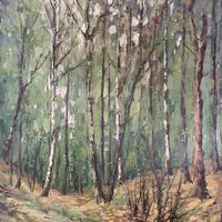Antique German Impressionist Landscape Oil Painting of Woodland Signed Keiker (8 of 10)