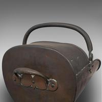 Antique Helmet Scuttle, English, Copper, Fireside, Coal, Bucket, Victorian c.1870 (9 of 10)