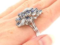 5.25ct Sapphire & 1.33ct Diamond, 14ct White Gold Cocktail Ring - Vintage c.1970 (8 of 9)
