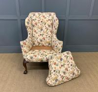 Upholstered Walnut Wing Armchair (9 of 9)