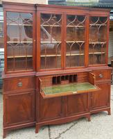Georgian Design Mahogany Breakfront Secretaire Bookcase