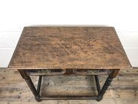 Antique Oak Side Table with Geometric Drawers (7 of 10)