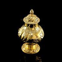 Antique Georgian Solid Silver Gilt Tea Caddy / Sugar Caster, Baronet Coat of Arms (heathcote) - Samuel Taylor 1753 (13 of 27)