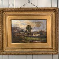 Antique large Scottish landscape oil painting of cottages in Trossachs signed Walter W Banner 1880 (4 of 11)