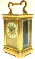 Good Antique French 8-day Carriage Clock Bevelled Case with Embossed Decorated Masked Dial (4 of 12)