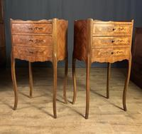 Pair of French Inlaid Tulipwood Bedside Tables (10 of 11)