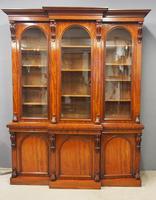 Victorian Mahogany Breakfront Cabinet Bookcase (2 of 19)