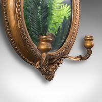 Pair of Antique Girandole Mirrors, English, Giltwood, Ovall, Wall, Regency, 1820 (7 of 10)
