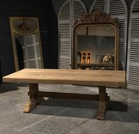Large French Bleached Oak Trestle Farmhouse Dining Table (6 of 16)