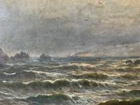 Gigantic George Henry Jenkins  19th Century Seascape Oil Painting (6 of 12)