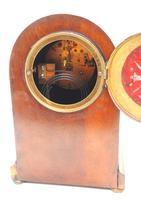 Fine Edwardian Mahogany Balloon Clock Brass Inlay Striking Mantel Clock (8 of 9)