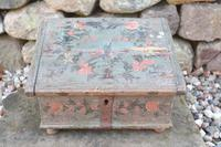 Scandinavian / Swedish 'Folk Art' Bridal / dowry chest, rosmålning heart & love bird decoration c.1780 (28 of 39)