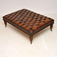 Large Antique Victorian Style Deep Buttoned Leather Stool / Coffee Table (4 of 9)