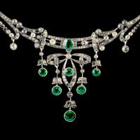 Antique Victorian Art Nouveau Green Paste Garland Necklace Silver c.1900 (7 of 8)