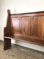 Antique Victorian Pitch Pine Curved Back Pew or Settle (7 of 16)