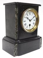 Antique French Slate & Marble Mantel Clock 8 Day Mantle Clock (3 of 9)