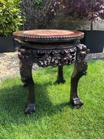 Chinese Hongmu Jardinière or Side Table with Marble Inset, Antique (3 of 16)
