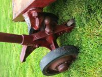 English Vintage Railway Willmot Trolley Oak Iron Plank Top Coffee Wheel Table (18 of 25)