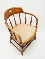 Edwardian Oak Upholstered Tub Chair (16 of 18)