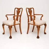 Pair of Antique Walnut Queen Anne Style Carver Armchairs (10 of 10)