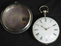 Antique Silver Pair Case Pocket Watch Fusee Verge Escapement Key Wind Enamel Dial James Bucknell (6 of 11)