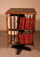 English Revolving Bookcase Early 20th Century in Bamboo & Asian Decor (5 of 10)